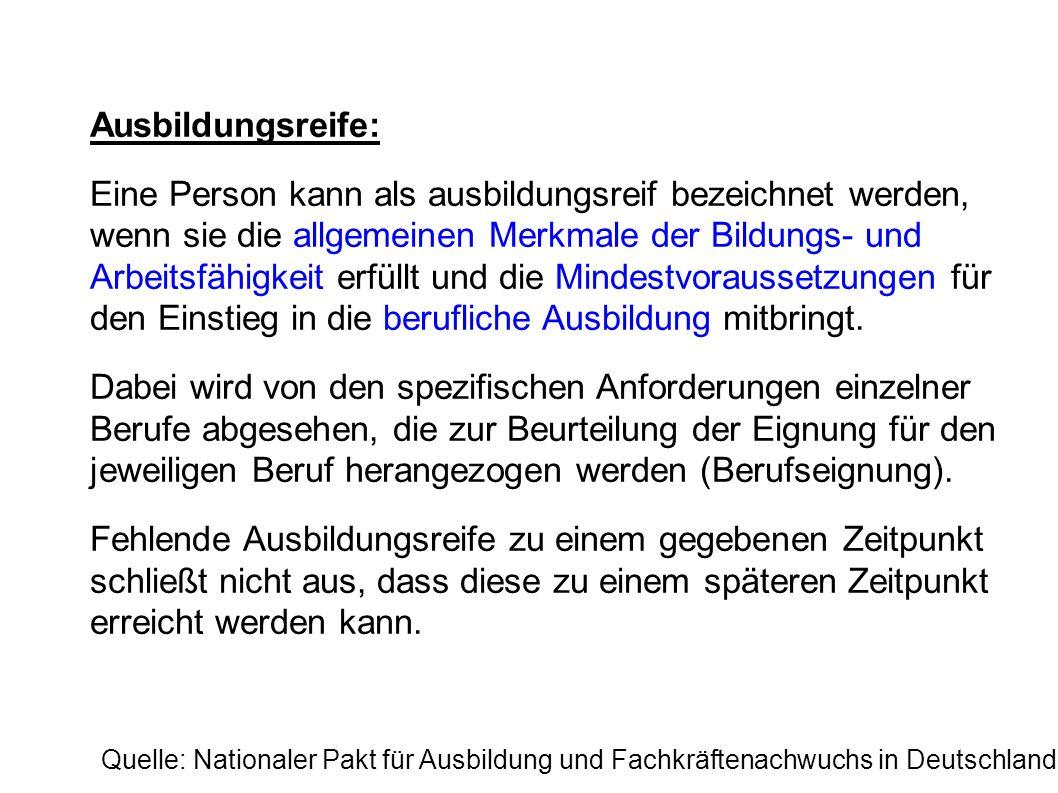 Quellen: Nationaler Pakt für Ausbildung und Fachkräftenachwuchs in Deutschland: http://www.arbeitslehre.uni-wuerzburg.de/uploads/media/Nationaler-Pakt- fuer- Ausbildung-und-Fachkraeftenachwuchs-Kriterienkatalog-zur- Ausbildungsreife_04.pdf http://www.arbeitslehre.uni-wuerzburg.de/uploads/media/Nationaler-Pakt- fuer- Ausbildung-und-Fachkraeftenachwuchs-Kriterienkatalog-zur- Ausbildungsreife_04.pdf (Referat Kapitel 1 & 2) Gerd - E.