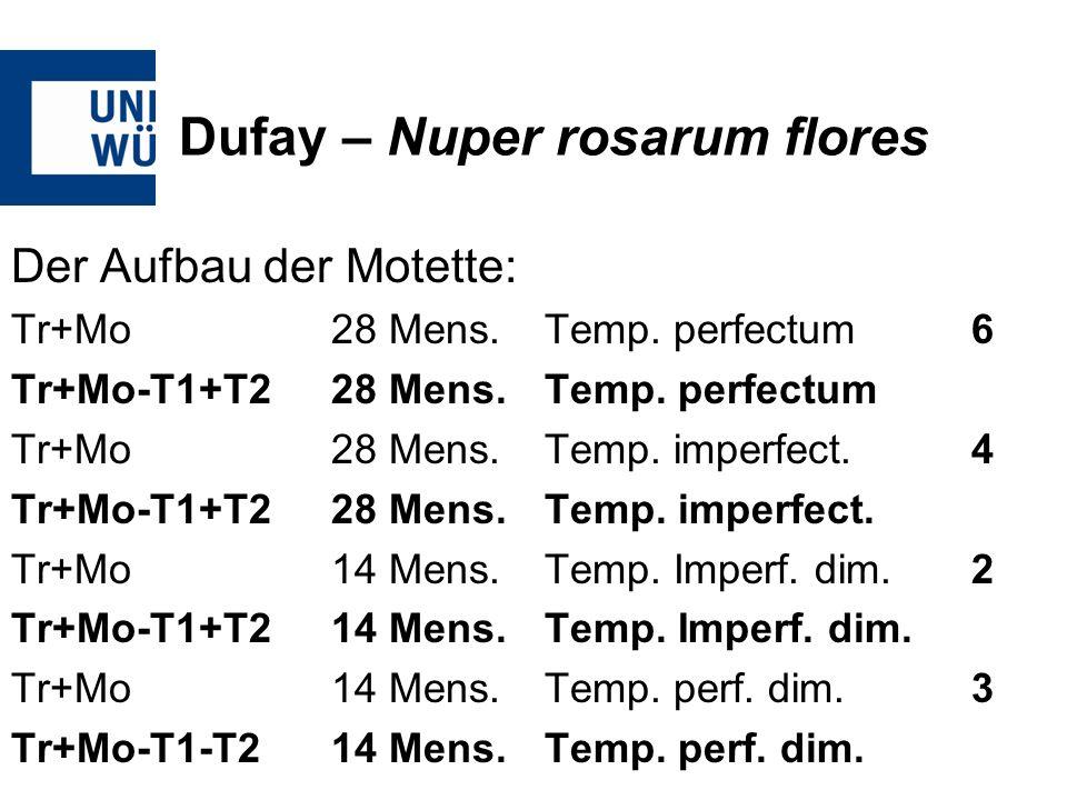 Dufay – Nuper rosarum flores Der Aufbau der Motette: Tr+Mo28 Mens.Temp. perfectum6 Tr+Mo-T1+T228 Mens.Temp. perfectum Tr+Mo28 Mens.Temp. imperfect.4 T