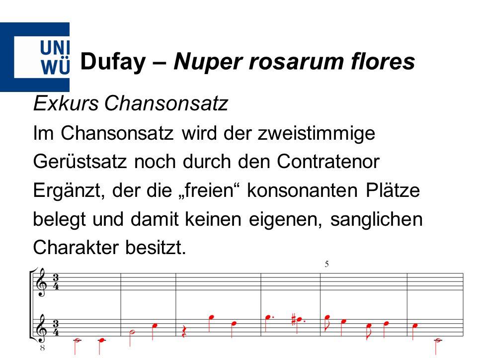 Dufay – Nuper rosarum flores Exkurs Chansonsatz Im Chansonsatz wird der zweistimmige Gerüstsatz noch durch den Contratenor Ergänzt, der die freien kon