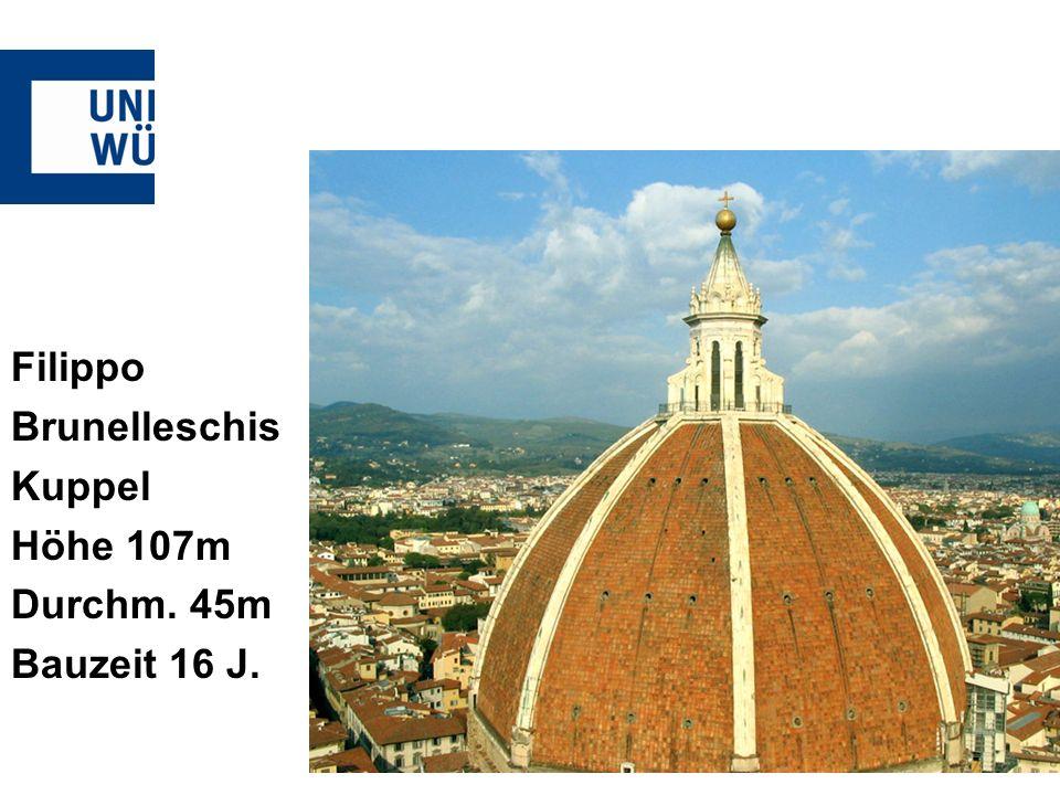 Filippo Brunelleschis Kuppel Höhe 107m Durchm. 45m Bauzeit 16 J.