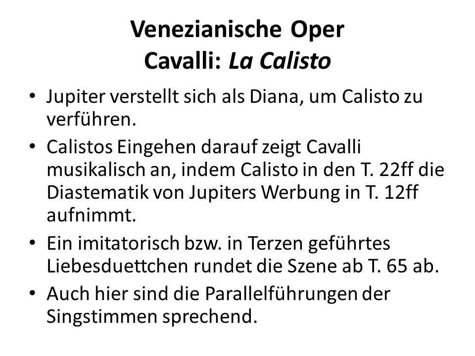 Venezianische Oper Cavalli: La Calisto Jupiter verstellt sich als Diana, um Calisto zu verführen.