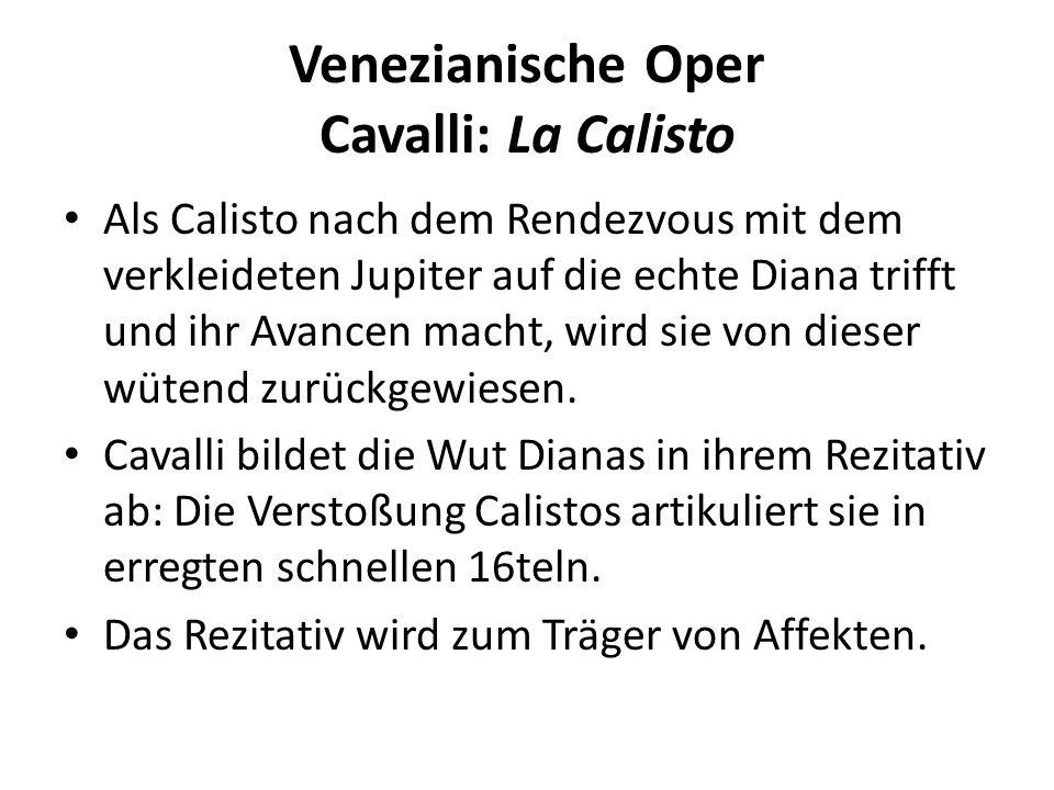 Venezianische Oper Cavalli: La Calisto Als Calisto nach dem Rendezvous mit dem verkleideten Jupiter auf die echte Diana trifft und ihr Avancen macht, wird sie von dieser wütend zurückgewiesen.