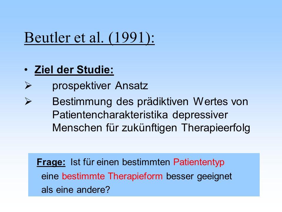 Beutler et al. (1991): Ziel der Studie: prospektiver Ansatz Bestimmung des prädiktiven Wertes von Patientencharakteristika depressiver Menschen für zu