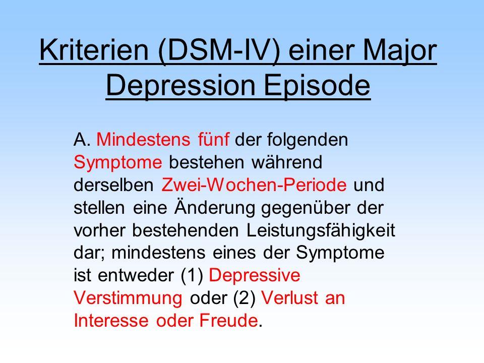 Kriterien (DSM-IV) einer Major Depression Episode A. Mindestens fünf der folgenden Symptome bestehen während derselben Zwei-Wochen-Periode und stellen