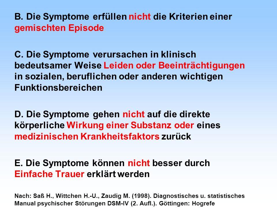 B. Die Symptome erfüllen nicht die Kriterien einer gemischten Episode C. Die Symptome verursachen in klinisch bedeutsamer Weise Leiden oder Beeinträch