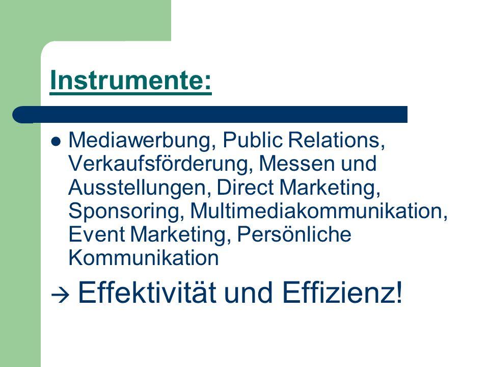 Instrumente: Mediawerbung, Public Relations, Verkaufsförderung, Messen und Ausstellungen, Direct Marketing, Sponsoring, Multimediakommunikation, Event
