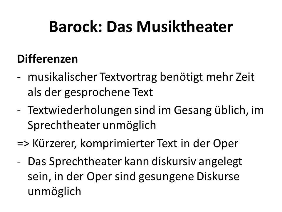 Barock: Das Musiktheater Differenzen -musikalischer Textvortrag benötigt mehr Zeit als der gesprochene Text -Textwiederholungen sind im Gesang üblich,