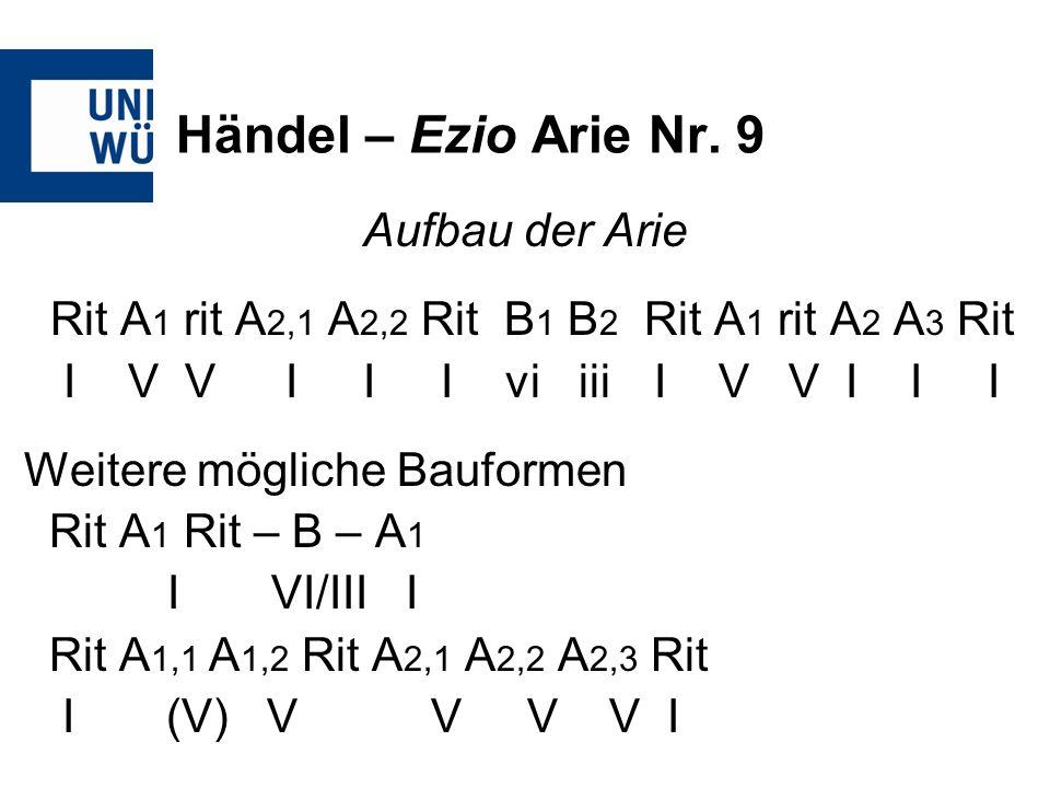 Händel – Ezio Arie Nr. 9 Aufbau der Arie Rit A 1 rit A 2,1 A 2,2 Rit B 1 B 2 Rit A 1 rit A 2 A 3 Rit I V V I I I vi iii I V V I I I Weitere mögliche B