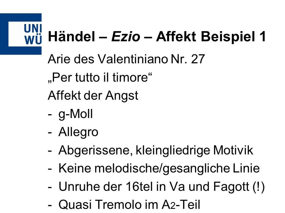 Händel – Ezio – Affekt Beispiel 1 Arie des Valentiniano Nr. 27 Per tutto il timore Affekt der Angst -g-Moll -Allegro -Abgerissene, kleingliedrige Moti