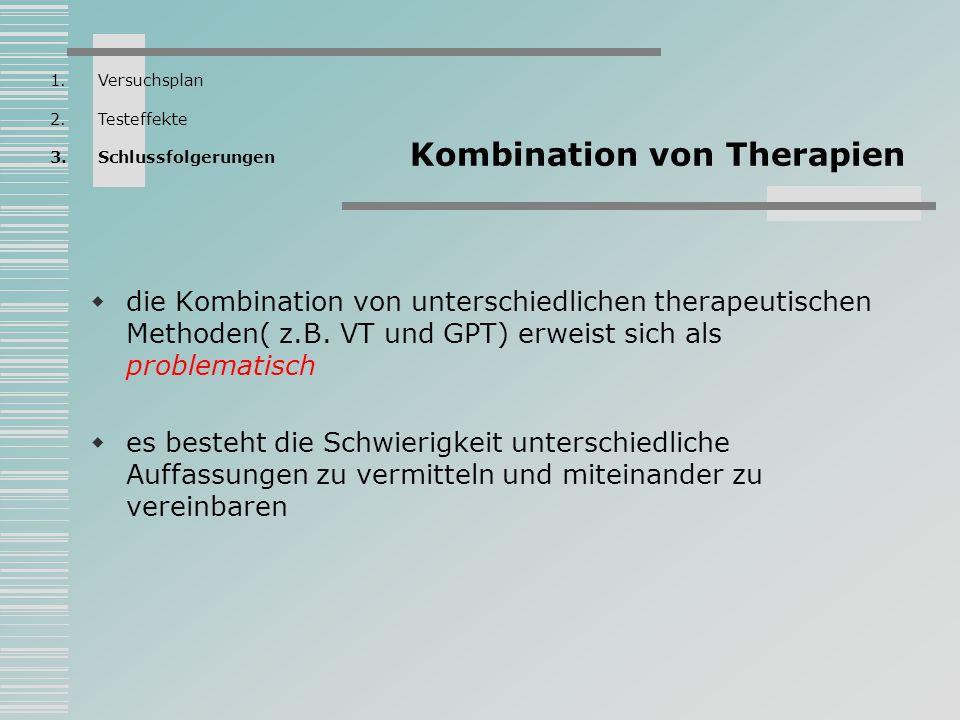 Kombination von Therapien die Kombination von unterschiedlichen therapeutischen Methoden( z.B. VT und GPT) erweist sich als problematisch es besteht d