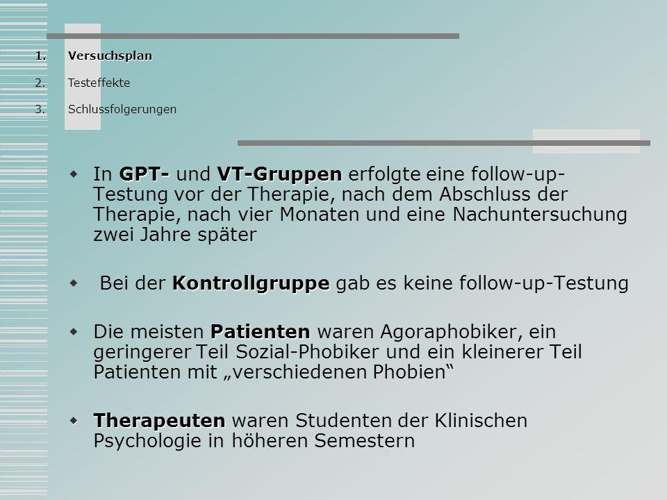 GPT- VT-Gruppen In GPT- und VT-Gruppen erfolgte eine follow-up- Testung vor der Therapie, nach dem Abschluss der Therapie, nach vier Monaten und eine
