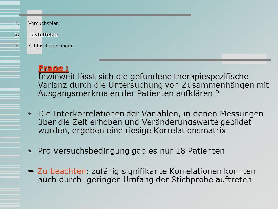 Prä-Post-Messung 1.Versuchsplan 2.Testeffekte 3.Schlussfolgerungen
