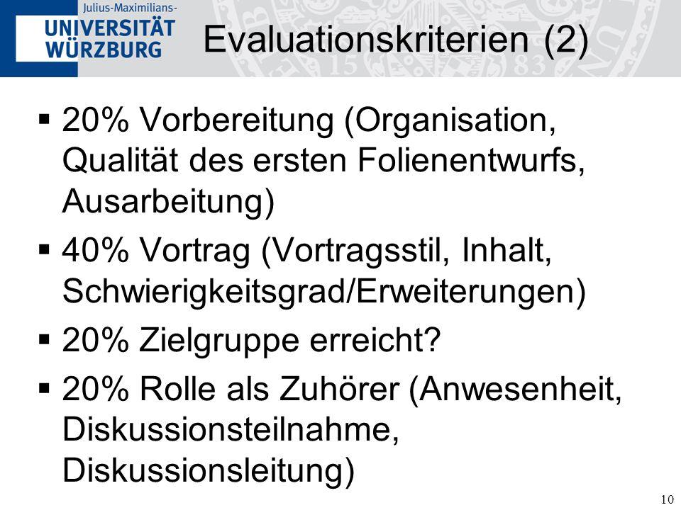 10 Evaluationskriterien (2) 20% Vorbereitung (Organisation, Qualität des ersten Folienentwurfs, Ausarbeitung) 40% Vortrag (Vortragsstil, Inhalt, Schwi