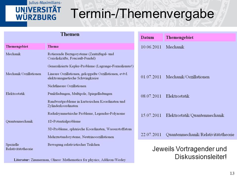 13 Termin-/Themenvergabe Jeweils Vortragender und Diskussionsleiter!