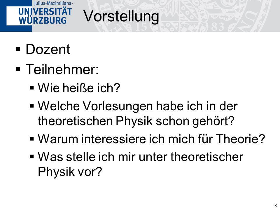 3 Vorstellung Dozent Teilnehmer: Wie heiße ich? Welche Vorlesungen habe ich in der theoretischen Physik schon gehört? Warum interessiere ich mich für