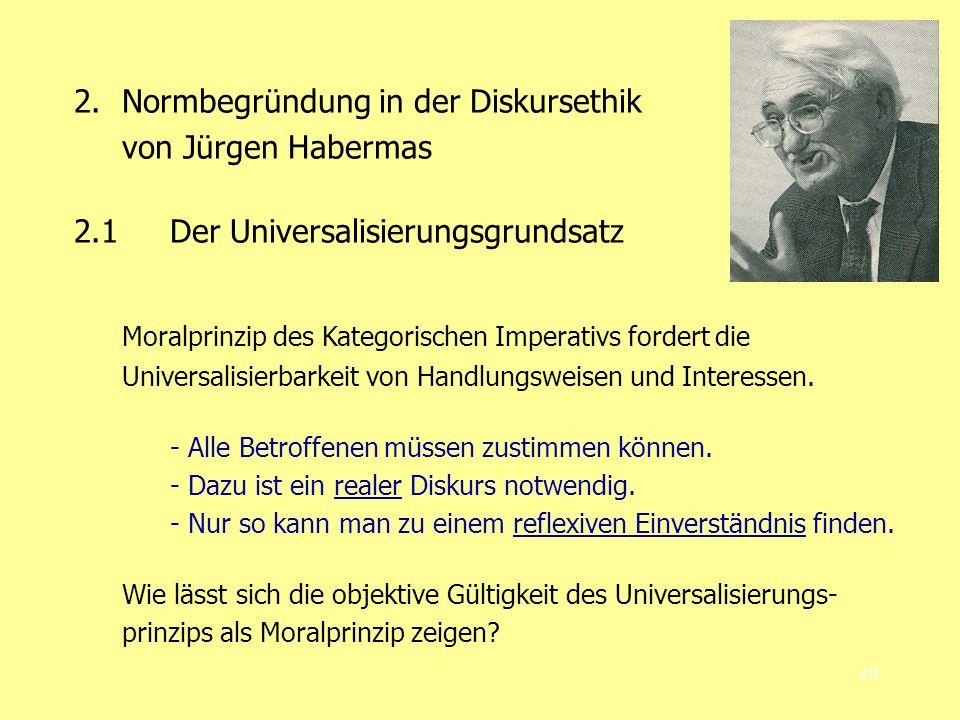 20 2.Normbegründung in der Diskursethik von Jürgen Habermas 2.1 Der Universalisierungsgrundsatz Moralprinzip des Kategorischen Imperativs fordert die