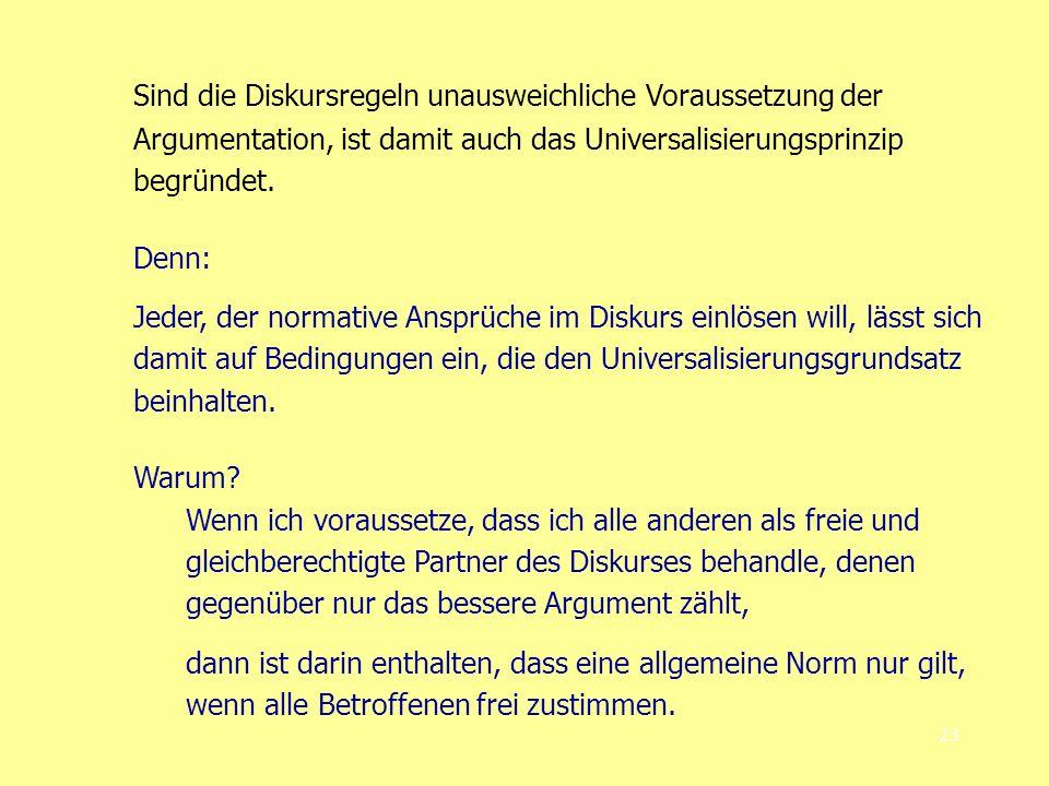 23 Sind die Diskursregeln unausweichliche Voraussetzung der Argumentation, ist damit auch das Universalisierungsprinzip begründet. Denn: Jeder, der no