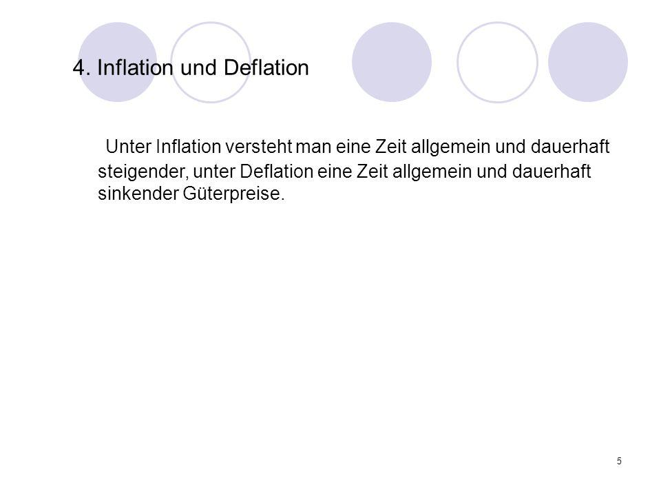 5 4. Inflation und Deflation Unter Inflation versteht man eine Zeit allgemein und dauerhaft steigender, unter Deflation eine Zeit allgemein und dauerh