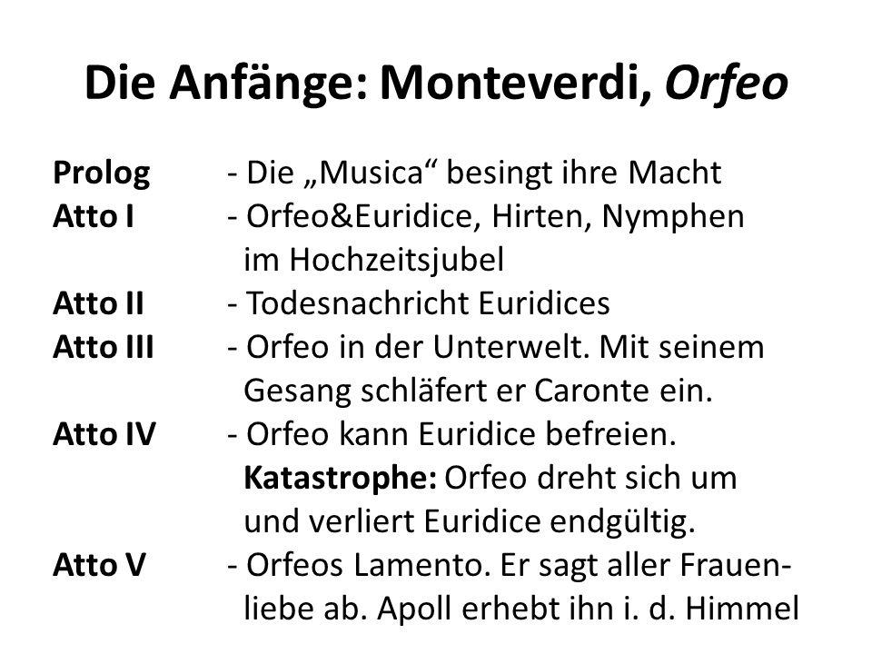 Die Anfänge: Monteverdi, Orfeo Prolog- Die Musica besingt ihre Macht Atto I- Orfeo&Euridice, Hirten, Nymphen im Hochzeitsjubel Atto II- Todesnachricht Euridices Atto III- Orfeo in der Unterwelt.