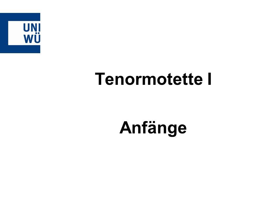 Tenormotette I Anfänge