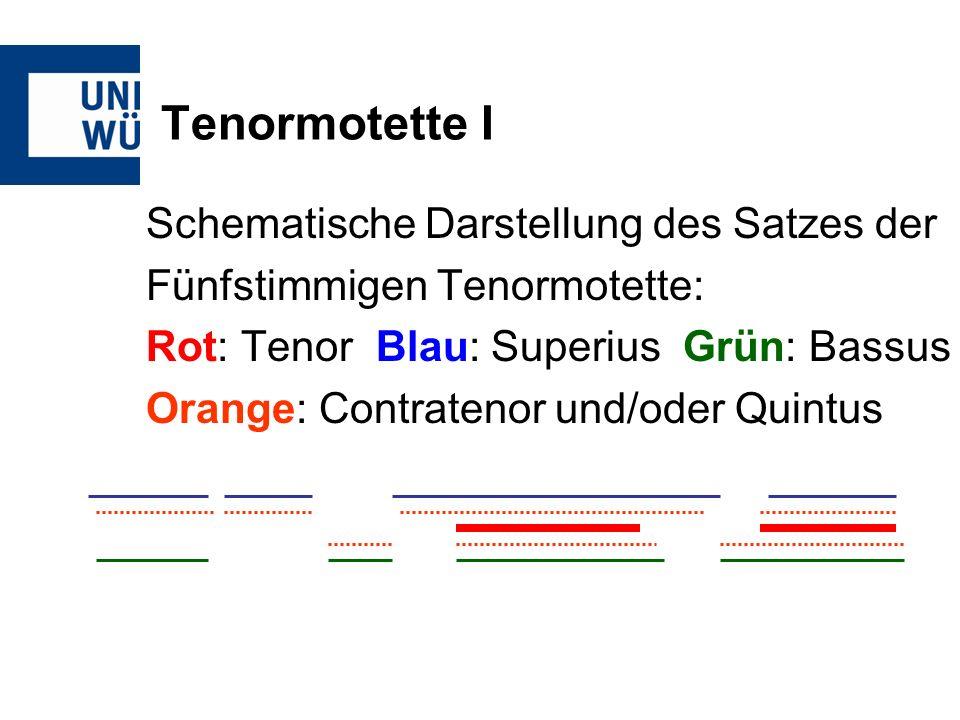Tenormotette I Schematische Darstellung des Satzes der Fünfstimmigen Tenormotette: Rot: Tenor Blau: Superius Grün: Bassus Orange: Contratenor und/oder Quintus