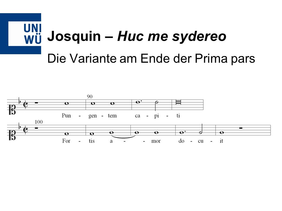 Josquin – Huc me sydereo Die Variante am Ende der Prima pars