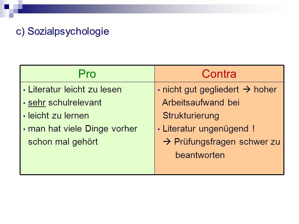 d) Entwicklungspsychologie anspruchsvoll zu lesen und zu verstehen viel zu lesen Literatur vollständig (Oerter / Montada) gut gegliedert Prüfungsfragen gut zumutbar ProContra Viel auswendig zu lernen Man liest zwar viel, aber vieles kann man ausschließen