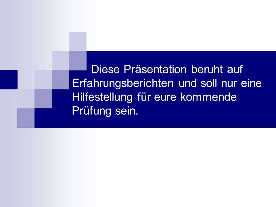 I.Allgemeines Aufbau der EWS – Prüfung EWS zählt zum 1.