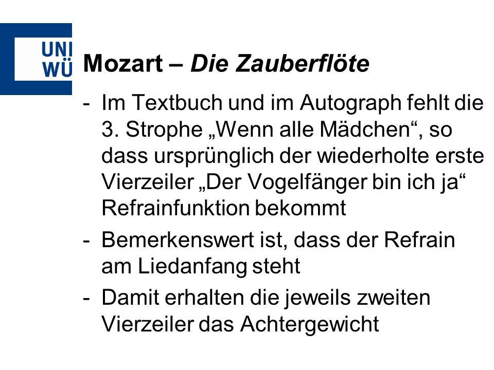 Mozart – Die Zauberflöte -Im Textbuch und im Autograph fehlt die 3.