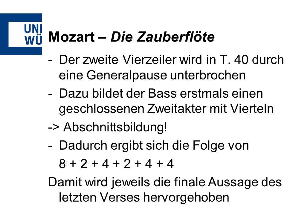Mozart – Die Zauberflöte -Der zweite Vierzeiler wird in T.