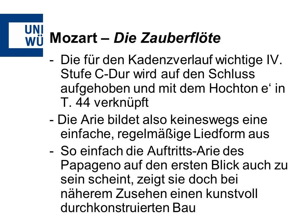 Mozart – Die Zauberflöte -Die für den Kadenzverlauf wichtige IV.