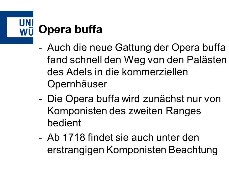 Opera buffa -So findet 1718 die UA von Alessandro Scarlattis Il trionfo dellonore statt -Weitere bedeutende Komponisten der Opera buffa sind Leonardo Vinci (1690-1730) ab 1719 Johan Adolf Hasse (1699-1783) ab 1729 Giovanni Battista Pergolesi (1710- 1736)
