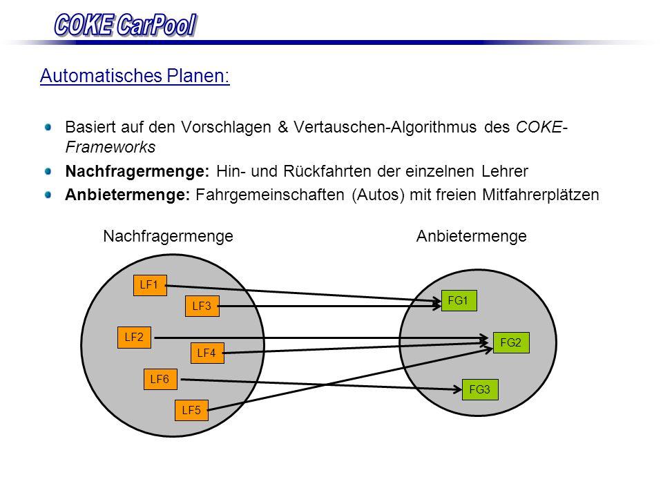 Automatisches Planen: Basiert auf den Vorschlagen & Vertauschen-Algorithmus des COKE- Frameworks Nachfragermenge: Hin- und Rückfahrten der einzelnen L