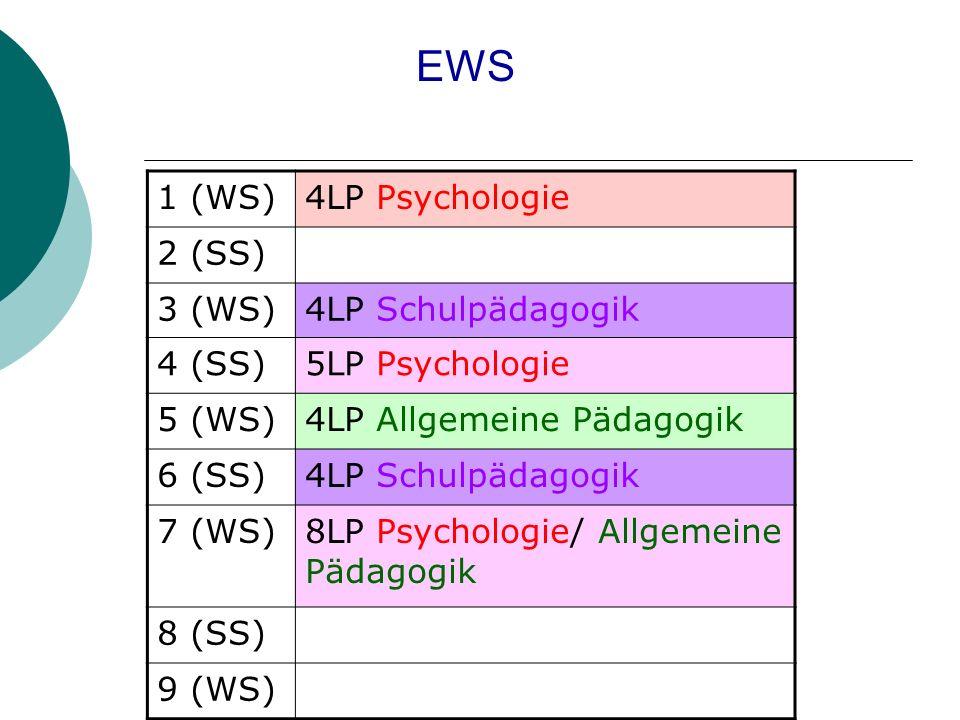 1 (WS)4LP Psychologie 2 (SS) 3 (WS)4LP Schulpädagogik 4 (SS)5LP Psychologie 5 (WS)4LP Allgemeine Pädagogik 6 (SS)4LP Schulpädagogik 7 (WS)8LP Psychologie/ Allgemeine Pädagogik 8 (SS) 9 (WS) EWS