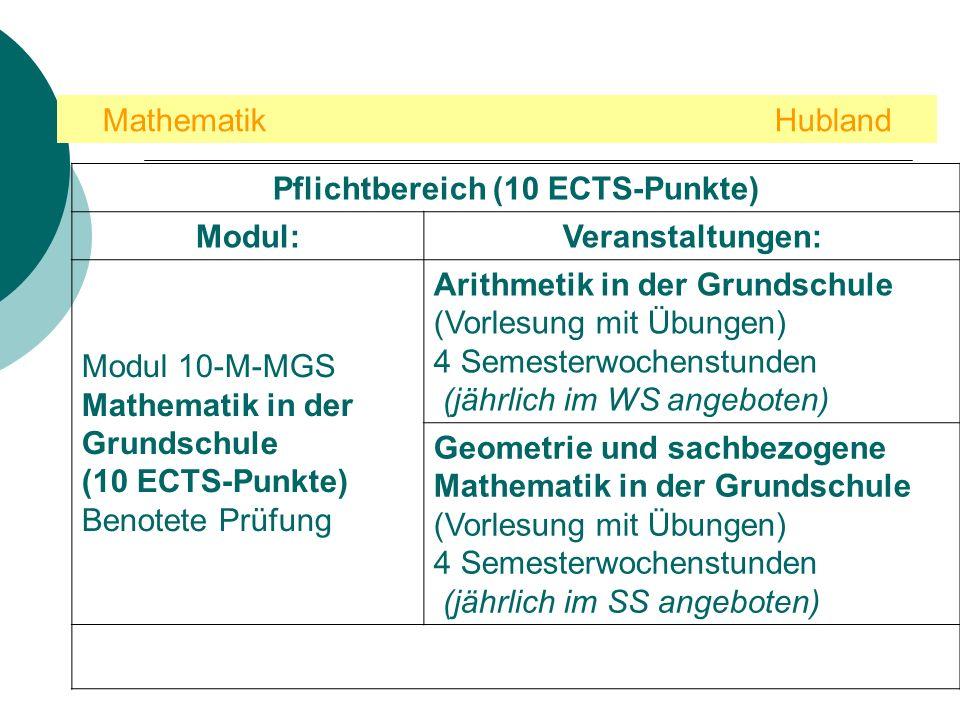 Mathematik Hubland Pflichtbereich (10 ECTS-Punkte) Modul:Veranstaltungen: Modul 10-M-MGS Mathematik in der Grundschule (10 ECTS-Punkte) Benotete Prüfu