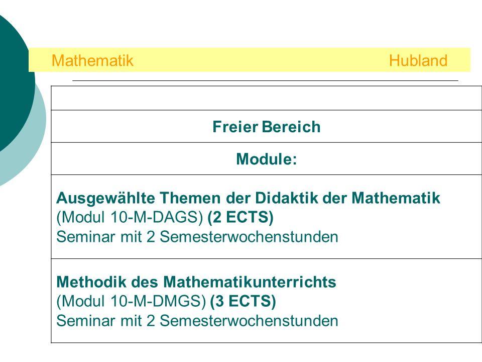 Mathematik Hubland Freier Bereich Module: Ausgewählte Themen der Didaktik der Mathematik (Modul 10-M-DAGS) (2 ECTS) Seminar mit 2 Semesterwochenstunden Methodik des Mathematikunterrichts (Modul 10-M-DMGS) (3 ECTS) Seminar mit 2 Semesterwochenstunden