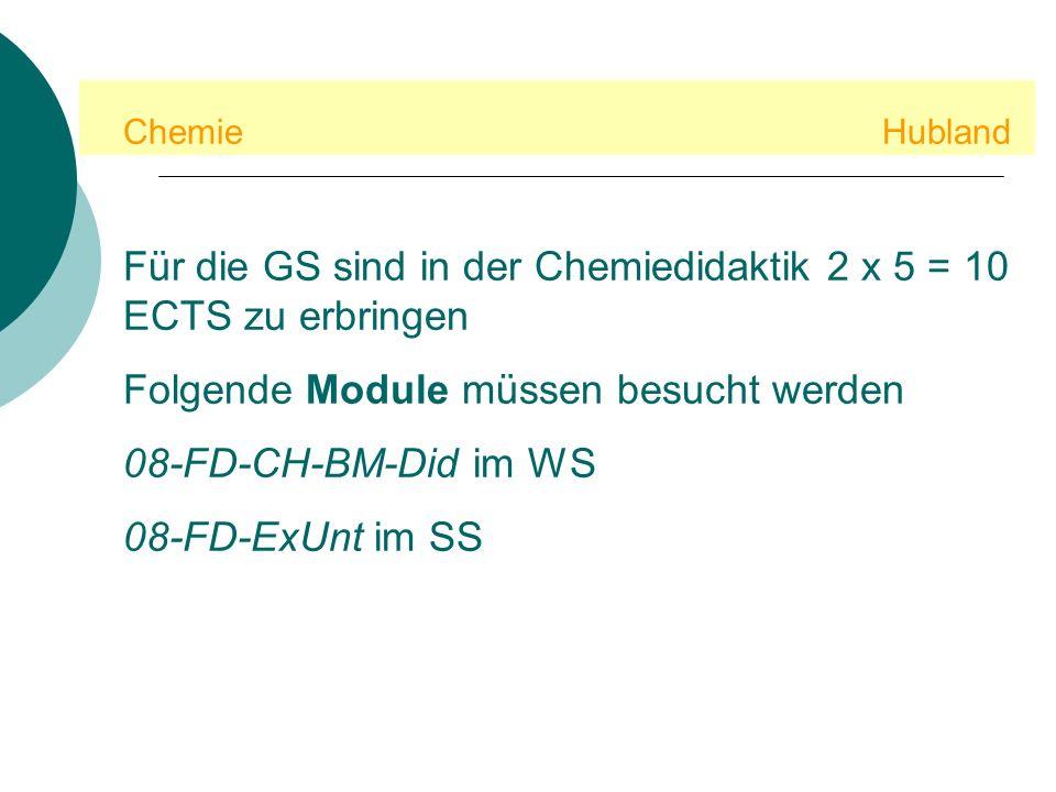 Chemie Hubland Für die GS sind in der Chemiedidaktik 2 x 5 = 10 ECTS zu erbringen Folgende Module müssen besucht werden 08-FD-CH-BM-Did im WS 08-FD-ExUnt im SS
