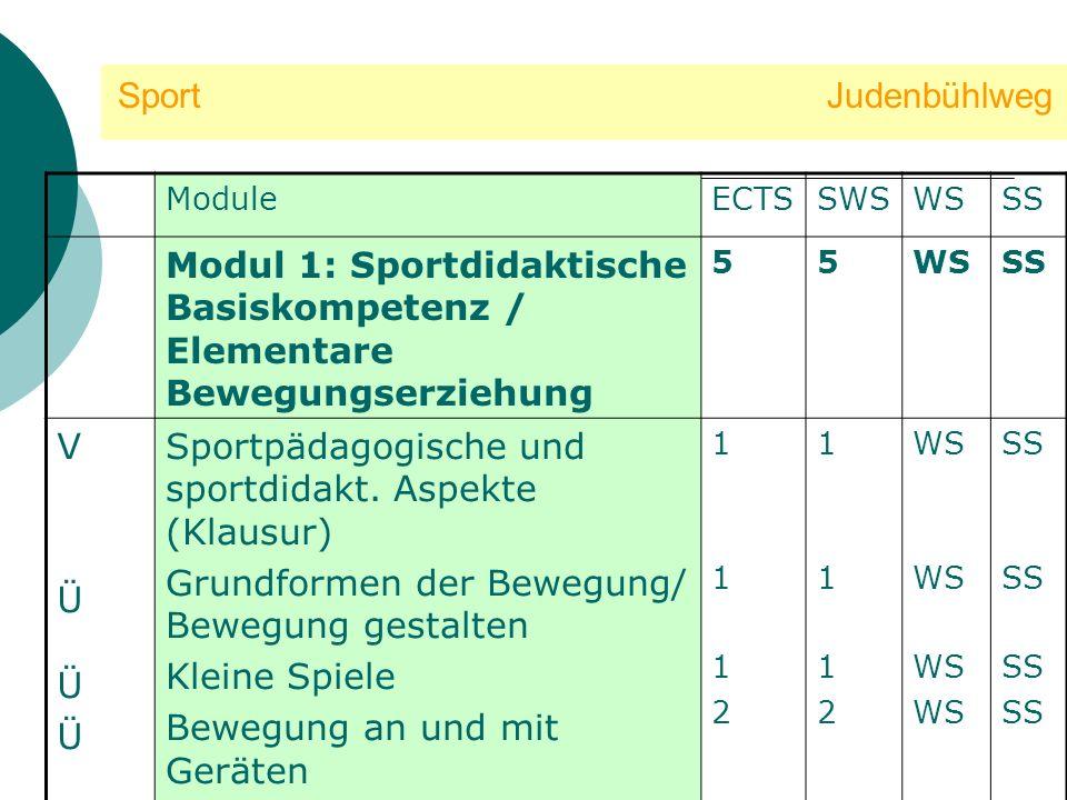 Sport Judenbühlweg ModuleECTSSWSWSSS Modul 1: Sportdidaktische Basiskompetenz / Elementare Bewegungserziehung 55WSSS VÜÜÜVÜÜÜ Sportpädagogische und sp