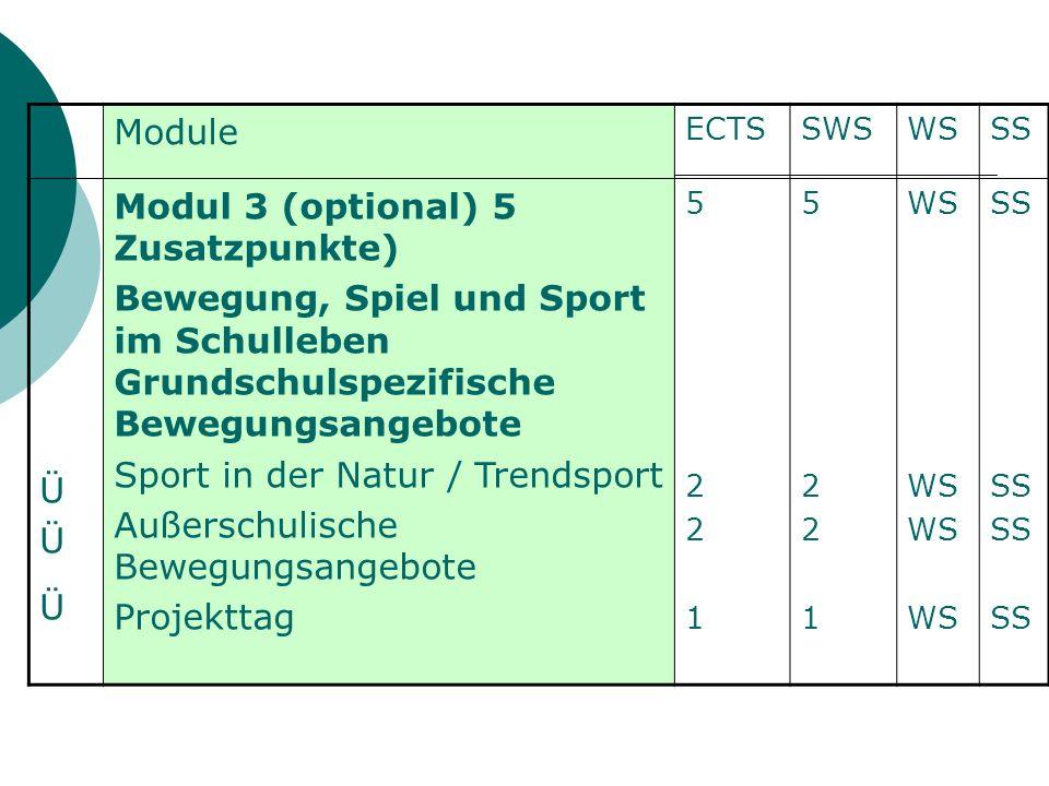 Module ECTSSWSWSSS ÜÜÜÜÜÜ Modul 3 (optional) 5 Zusatzpunkte) Bewegung, Spiel und Sport im Schulleben Grundschulspezifische Bewegungsangebote Sport in