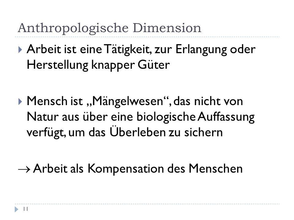 Anthropologische Dimension 11 Arbeit ist eine Tätigkeit, zur Erlangung oder Herstellung knapper Güter Mensch ist Mängelwesen, das nicht von Natur aus