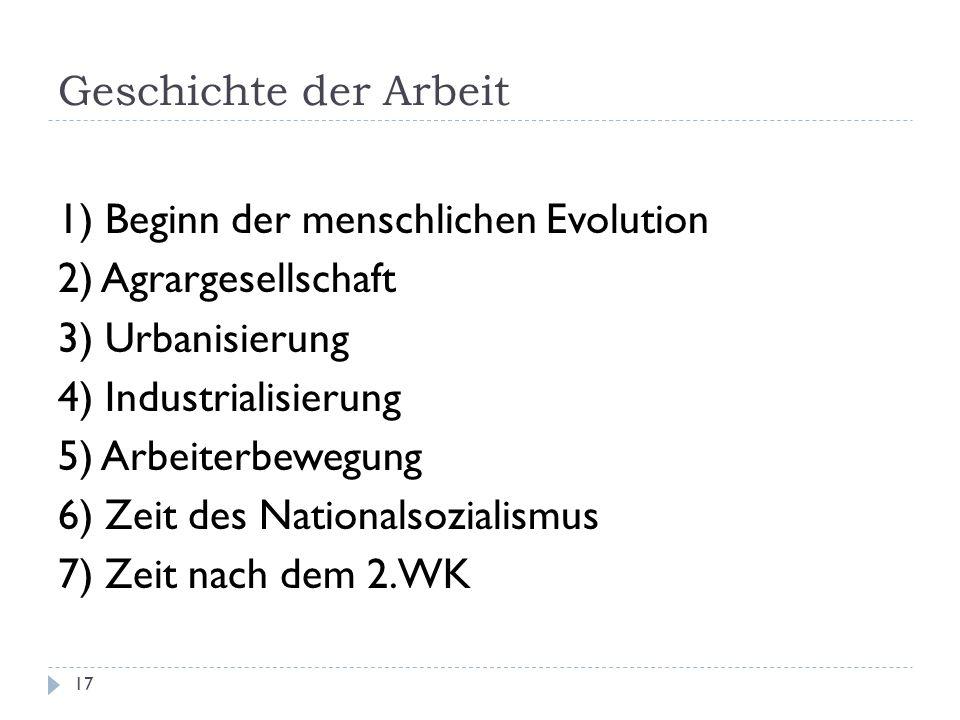 17 1) Beginn der menschlichen Evolution 2) Agrargesellschaft 3) Urbanisierung 4) Industrialisierung 5) Arbeiterbewegung 6) Zeit des Nationalsozialismu
