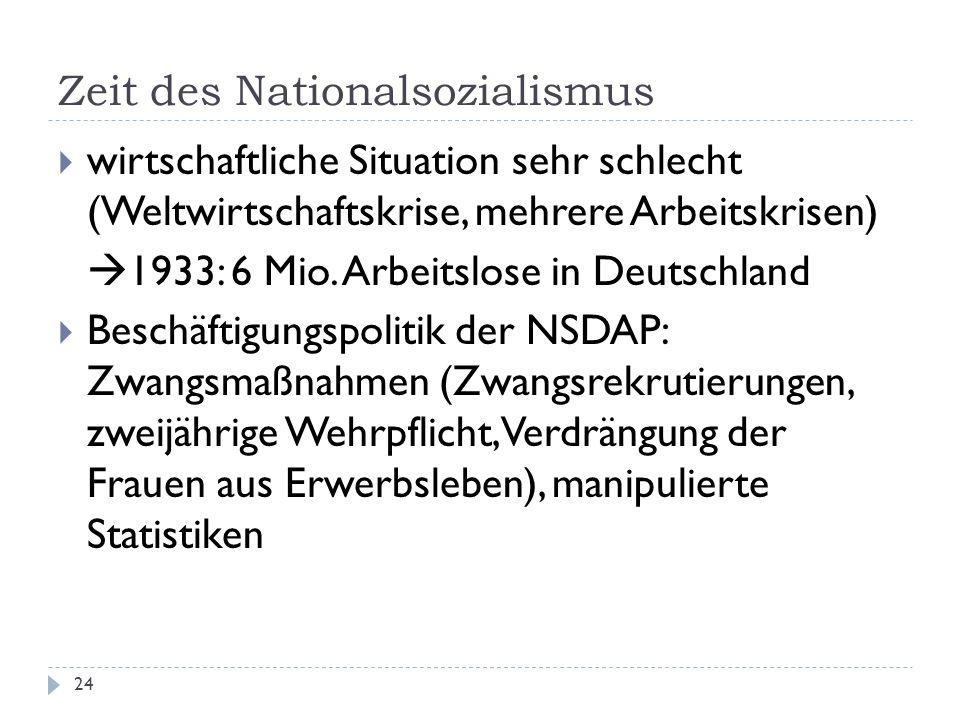 Zeit des Nationalsozialismus 24 wirtschaftliche Situation sehr schlecht (Weltwirtschaftskrise, mehrere Arbeitskrisen) 1933: 6 Mio. Arbeitslose in Deut