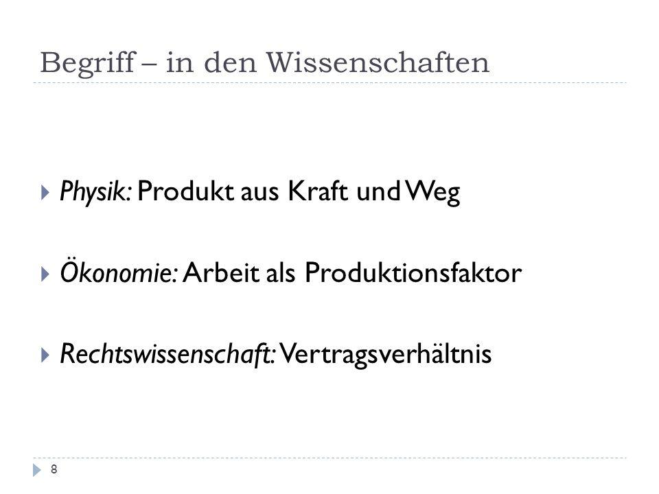 Begriff – in den Wissenschaften 8 Physik: Produkt aus Kraft und Weg Ökonomie: Arbeit als Produktionsfaktor Rechtswissenschaft: Vertragsverhältnis