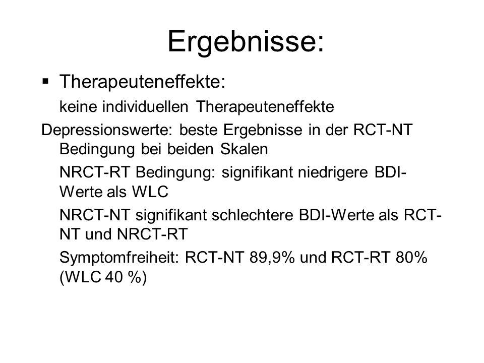 Ergebnisse: Therapeuteneffekte: keine individuellen Therapeuteneffekte Depressionswerte: beste Ergebnisse in der RCT-NT Bedingung bei beiden Skalen NR