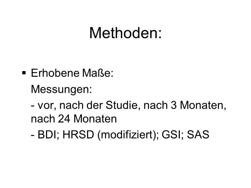 Methoden: Erhobene Maße: Messungen: - vor, nach der Studie, nach 3 Monaten, nach 24 Monaten - BDI; HRSD (modifiziert); GSI; SAS
