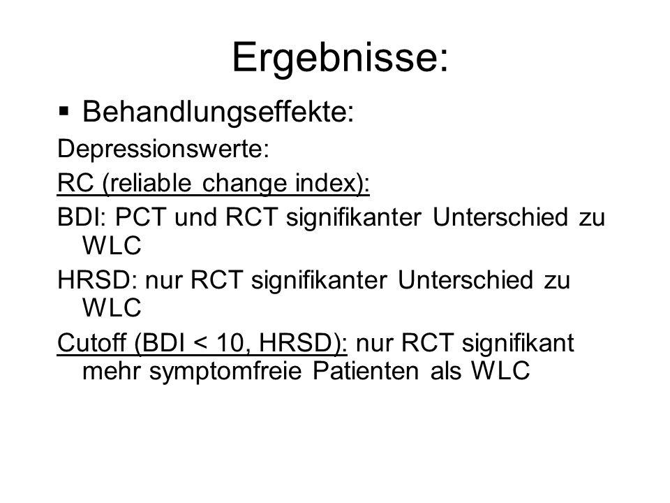 Ergebnisse: Behandlungseffekte: Depressionswerte: RC (reliable change index): BDI: PCT und RCT signifikanter Unterschied zu WLC HRSD: nur RCT signifik
