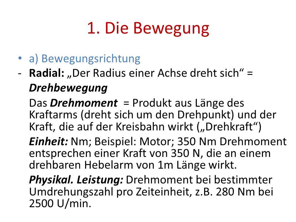 1. Die Bewegung a) Bewegungsrichtung -Radial: Der Radius einer Achse dreht sich = Drehbewegung Das Drehmoment = Produkt aus Länge des Kraftarms (dreht