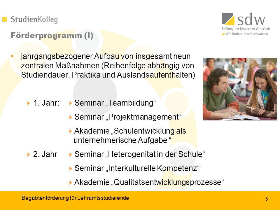 5 Förderprogramm (I) jahrgangsbezogener Aufbau von insgesamt neun zentralen Maßnahmen (Reihenfolge abhängig von Studiendauer, Praktika und Auslandsaufenthalten) 1.