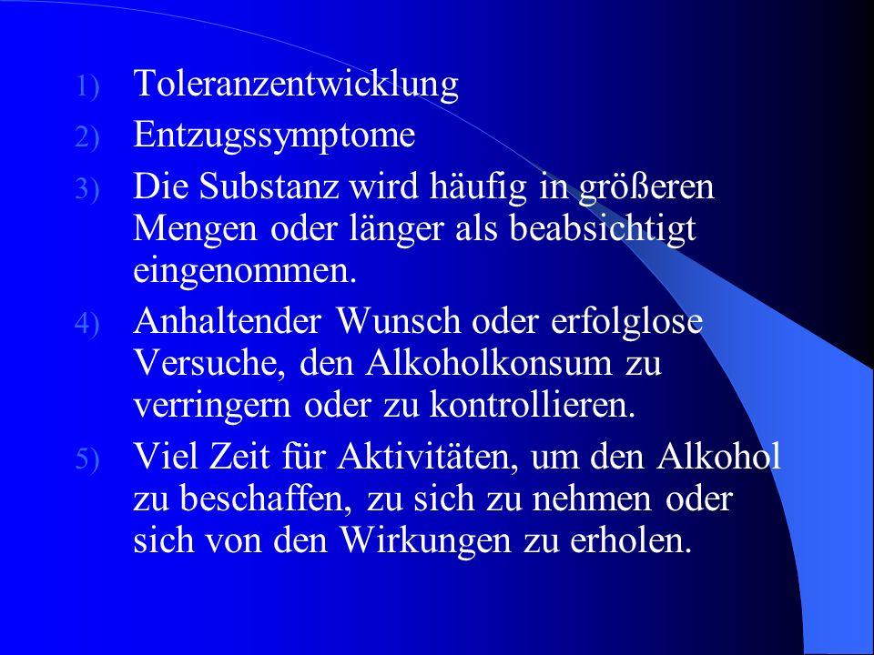F10.2 (303.90): Alkoholabhängigkeit: Ein unangepasstes Muster von Substanzkonsum führt in klinisch bedeutsamer Weise zu Beeinträchtigungen oder Leiden