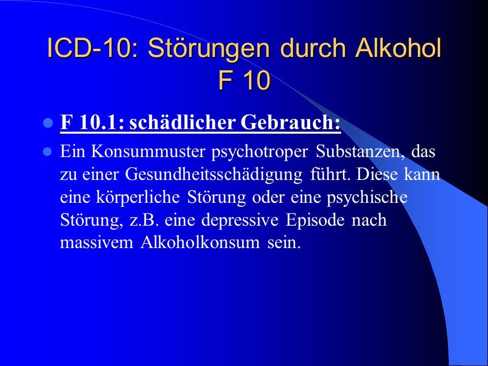 Alkoholabhängigkeit und Alkoholmissbrauch nach ICD-10 und DSM-IV